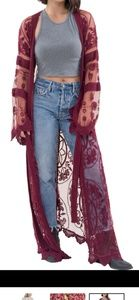 Wine colored Embroidered Maxi Kimono